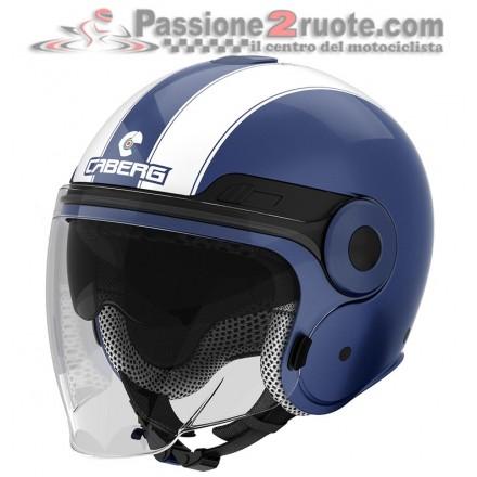 Casco jet moto scooter visiera lunga e occhiale parasole Caberg Uptown blu bianco blue white helmet casque