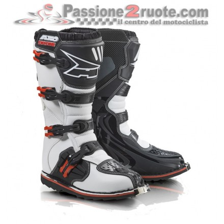 Stivale moto cross Axo Drone limited bianco rosso white red enduro motard off road boots