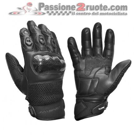 Guanti moto estivi protezioni Jollisport Manta black Gloves