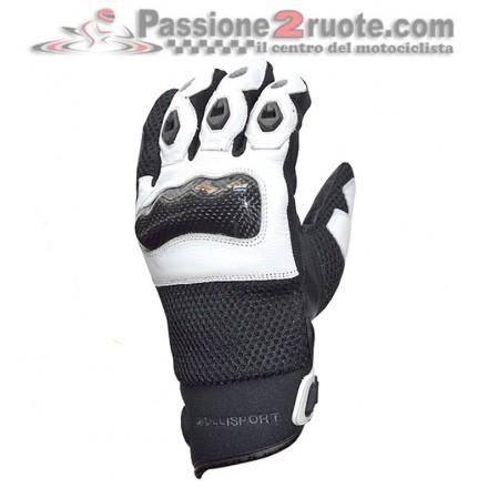 Guanti moto Jollisport Manta Nero Bianco gloves
