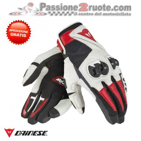 Guanti moto pelle tessuto Dainese Mig C2 bianco nero rosso white black red gloves