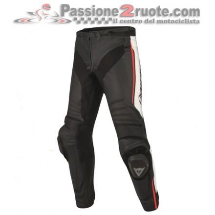 Pantalone moto Pelle Dainese Misano Nero Bianco Rosso-Lava leather pant