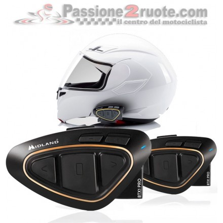 intefono casco bluetooth Midland BTX1 pro Twin Pack coppia interphone