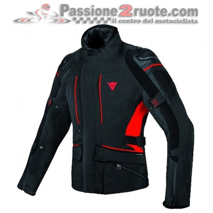 Giacca moto sport touring adventure impermeabile traspirante Dainese D-cyclone goretex nero rosso black red jacket