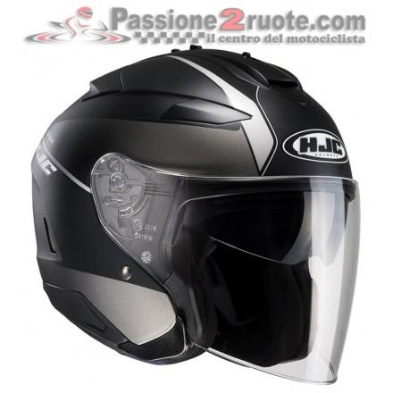 Casco Jet visiera lunga e visierino da sole Hjc Is-33 2 Niro Mc5sf nero opaco grigio matt black grey helmet casque