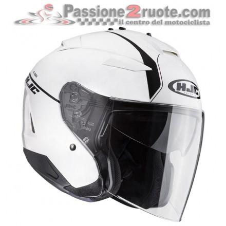 Casco jet moto scooter visiera lunga Hjc Is-33 II Niro Mc10 bianco nero white black helmet casque