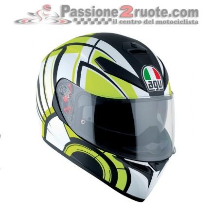 Casco integrale moto Agv K-3 Sv Avior nero opaco bianco giallo black mat white lime helmet casque