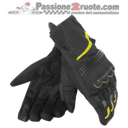 Guanti moto corti invernali impermeabili Dainese Tempest D-dry short nero giallo black yellow waterproof winter gloves
