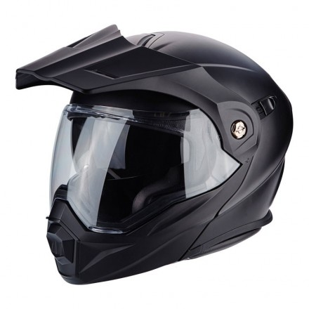 Casco modulare apribile enduro touring adventure moto Scorpion ADX-1 nero opaco black mat Flip up Helmet casque