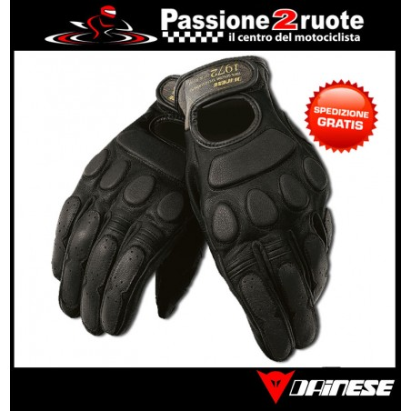 Guanti moto vintage retro cafe racer scramber custom Dainese Blackjack nero black gloves