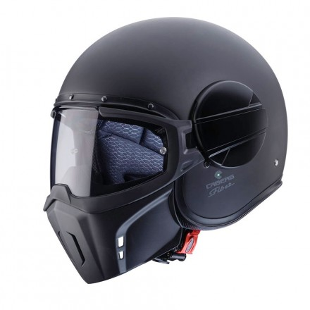 Casco jet integrale vintage cafe racer naked custom scrambler Caberg Ghost nero opaco black matt helmet casque