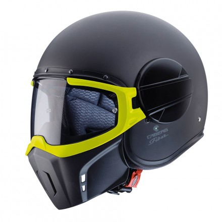 Casco jet integrale vintage cafe racer naked custom scrambler Caberg Ghost Fluo nero giallo black yellow helmet casque