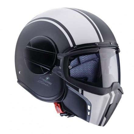 Casco jet integrale vintage cafe racer naked custom scrambler Caberg Ghost Legend nero bianco black white helmet casque