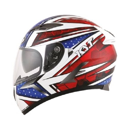 Casco integrale moto KYT Falcon All Stars bianco rosso blu white red helmet casque