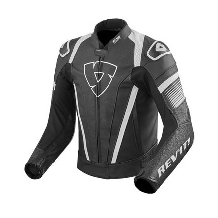 Giacca pelle moto RevIt Spitfire Black White leather jacket