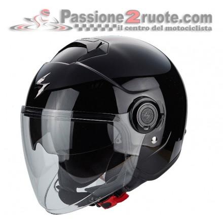 Casco jet con visierino parasole interno Scorpion Exo city nero black helmet casque