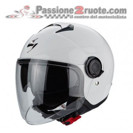 Casco jet con visierino parasole interno Scorpion Exo city bianco white helmet casque