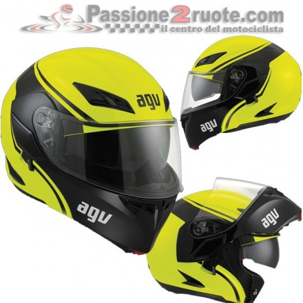 Casco modulare apribile moto Agv Compact ST Course giallo nero flip up helmet casque