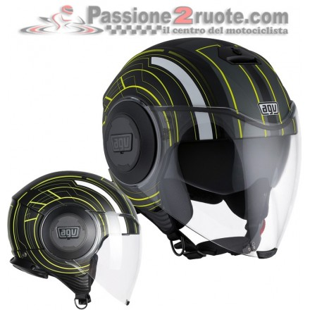 Casco jet aperto moto scooter Agv Fluid Chicago nero opaco giallo black mat yellow helmet casque