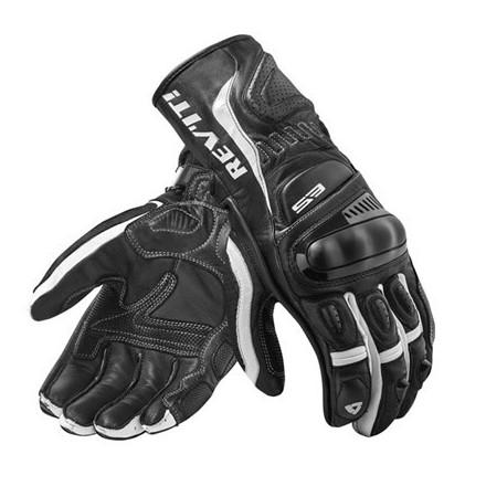 Guanti pelle moto racing sport Rev'It Stellar 2 Nero Bianco black white leather gloves