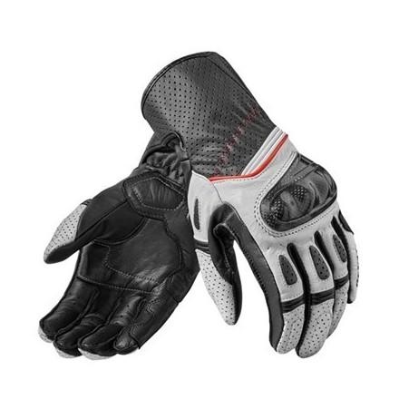 Guanti pelle moto racing sportivi primavera estate Rev'It Chevron 2 bianco nero White Black spring summer leather gloves