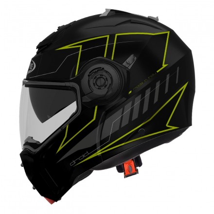 Casco modulare apribile moto Caberg Droid Blaze nero opaco giallo fluo matt black yellow flip-up Helmet casque