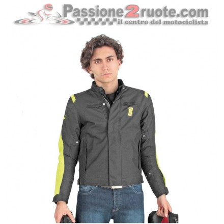 Giubbotto Giacca moto doppio strato 4 stagioni impermeabile Oj Smash nero giallo black yellow waterproof jacket