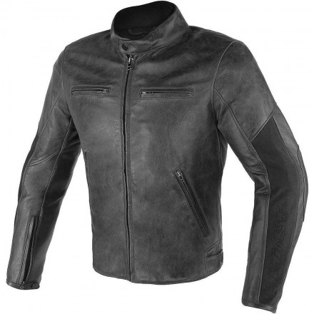 Giacca moto Pelle Dainese Stripes d1 Nero black leather jacket