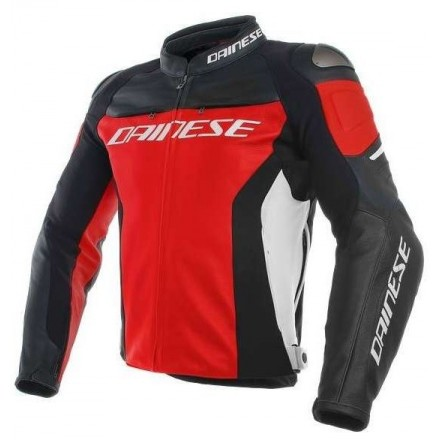 Giacca moto pelle Dainese Racing 3 Pelle Rosso Nero bianco leather jacket