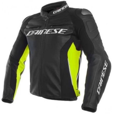 Giacca pelle Dainese Racing 3 Pelle nero giallo fluo