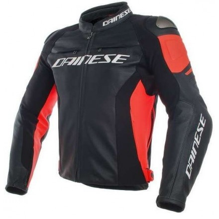 Giacca moto pelle Dainese Racing 3 Pelle Nero Rosso