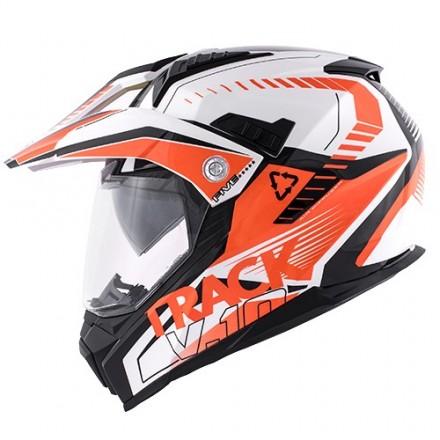 Casco touring moto Kappa Kv30 Enduro track white orange helmet