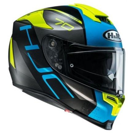Casco Integrale moto fibra Hjc Rpha 70 Vias nero azzurro giallo black blu yellow Mc2sf Helmet casque