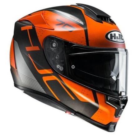 Casco Integrale moto fibra Hjc Rpha 70 Vias nero arancione black orange Mc7sf Helmet casque