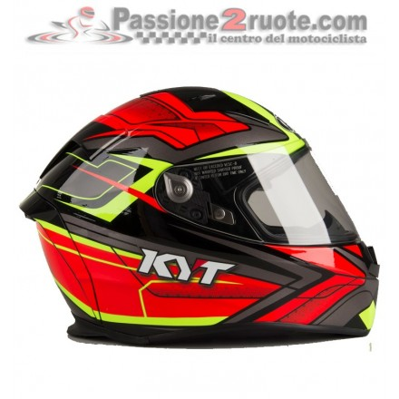 Casco integrale fibra moto KYT Thunderflash Bolt Rosso Giallo red yellow helmet casque