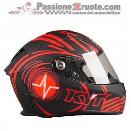Casco integrale fibra moto KYT Thunderflash Spark nero opaco rosso black matt red helmet casque