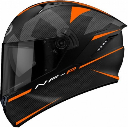 Casco integrale moto KYT NFR Logos nero opaco arancione matt black orange helmet casque