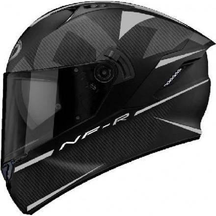Casco integrale moto KYT NF-R Logos nero opaco grigio black matt grey helmet casque