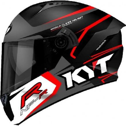 Casco integrale moto KYT NF-R Track nero opaco grigio rosso matt grey helmet casque