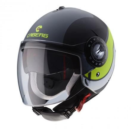 Casco jet moto scooter Caberg Riviera Sway matt antracite black yellow helmet