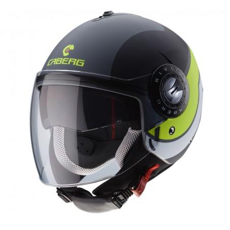 Casco jet moto scooter Caberg Riviera Sway grigio opaco giallo matt anthracite black yellow helmet casque