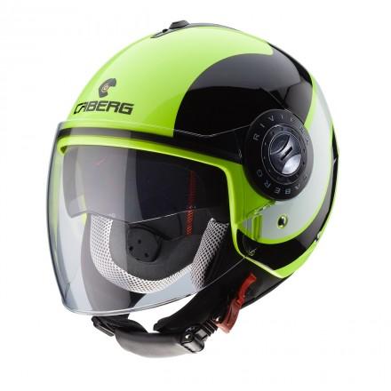 Casco jet moto scooter Caberg Riviera Sway yellow fluo black helmet