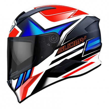 Casco integrale moto carbonio Suomy Speedstar Asymmetric bianco nero rosso blu white red blue helmet casque