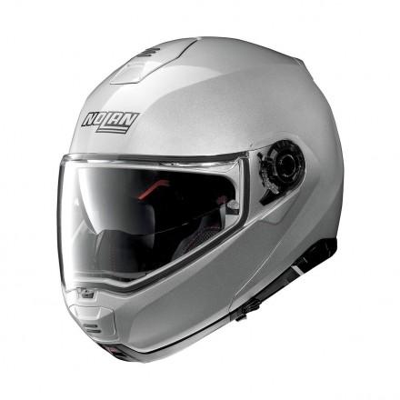 Casco modulare apribile moto Nolan N100-5 Ncom Grigio argento platinum silver flip up helmet casque