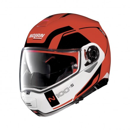 Casco modulare apribile moto N100-5 Consistency Ncom Corsa rosso Red flip up helmet casque