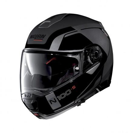 Casco modulare apribile moto Nolan N100-5 Consistency Ncom nero opaco grigio flat lava grey flip up helmet casque