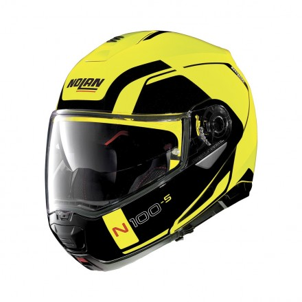 Casco modulare apribile moto Nolan N100-5 Consistency Led giallo nero Yellow Ncom flip up helmet casque