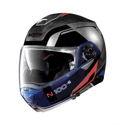 Casco modulare apribile moto Nolan N100-5 Consistency scratched chrome red blu Ncom flip up helmet casque