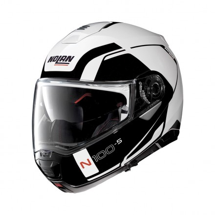 Casco modulare apribile moto Nolan N100-5 Consistency bianco nero white black Ncom flip up helmet casque