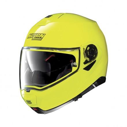 Casco modulare apribile moto Nolan N100-5 Hi-visibility giallo Yellow fluo Ncom flip up helmet casque